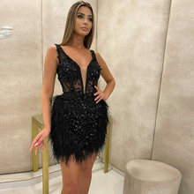 Глубокий v образный вырез коктейльное платье с пером черного