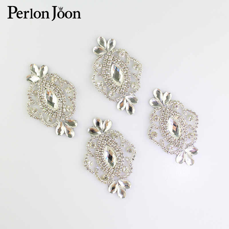 4pcs FAI DA TE in argento ferro sul cristallo del rhinestone del foglio di patch di vetro hot fix applique decorazione pattini di vestito da sposa accessori TJ 065