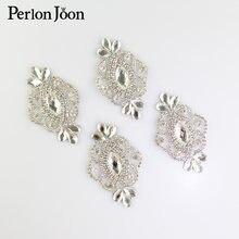 4 pçs diy ferro de prata na folha cristal strass remendo vidro quente fix applique decoração sapatos vestido casamento acessórios tj 065