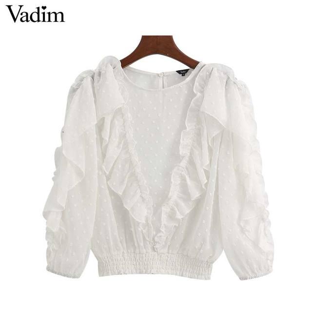 Vadim Nữ Màu Trắng Thanh Lịch Ngắn Phong Cách Áo Tay Lửng Nữ Sơ Mi Xem Qua Xù Áo Blusas LB744