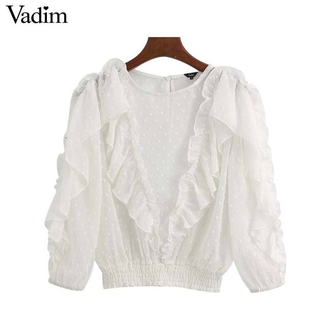 Vadim נשים אלגנטי לבן קצר סגנון חולצה שלושה שרוול רבעון נשי מזדמן חולצה לראות דרך ראפלס חולצות blusas LB744