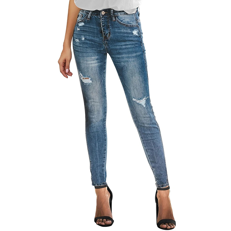 Women Stretch Denim Skinny Tattered Pants Ruined Pleated Thin Pencil Jeans