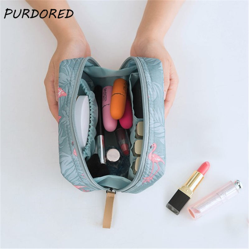 PURDORED 1 Pc Flamingo Cosmetic Bag Women Necessaire Make Up Bag Travel Waterproof Portable Toiletry Makeup Case Cosmetiquera
