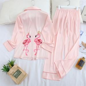 Image 5 - Fiklic pyjama femme soie manches longues, ensemble pyjama satin, printemps 2020