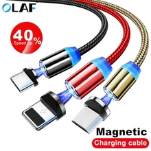 Olaf 2m Magnetic Micro USB Cable For iPhone Samsung Android Mobile Phone Fast Charging Type C Magnet Charger Wire Cord