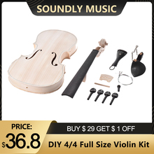 Full-Size Violin-Kit Fingerboard Fiddle Eq-Spruce Acoustic Top-Maple Solid-Wood Natural