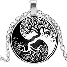 2019 New Retro Beautiful Black and White Yin and Yang Life Tree Glass Convex Fashion Pendant Necklace Welcome To Map Custom 2019 new creative cartoon yin and yang black and white cat necklace gift glass convex round pendant necklace fashion jewelry