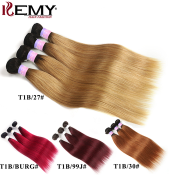 1B 27 30 Hair Bundles Ombre Blonde Brown Brazilian Straight Human Hair Weave Bundles Non-Remy Hair Extension 3/4 PCS KEMY HAIR