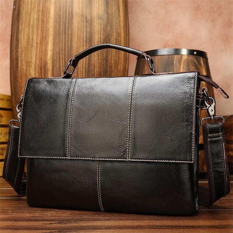Man Briefcase Genuine Leather Laptop Bag 13.3 Men Leather Briefcase Office Bags For Men Briefcases Handbag Porte Document   7909
