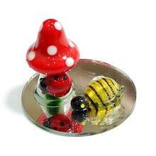 Ручная работа стеклянные статуэтки в виде гриба с милой божьей