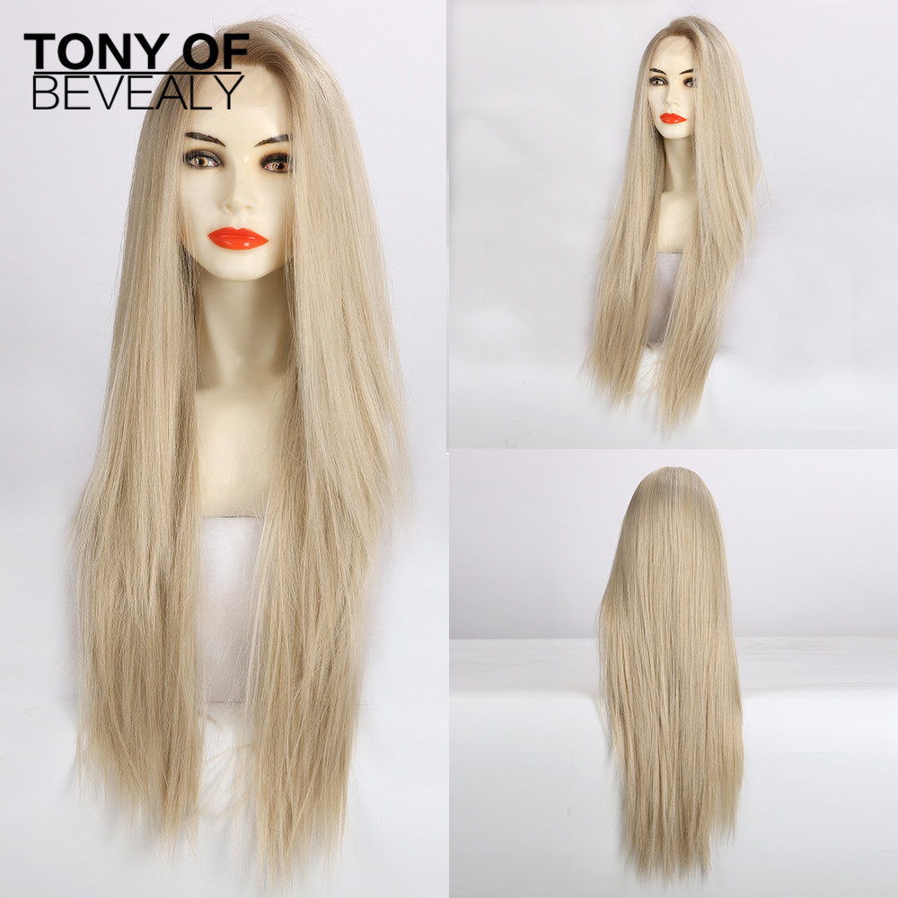 Long Blonde Straight Lace Front Synthetic Wigs High Density Layered Lace Wigs for Women Cosplay Wigs Heat Resistant Fiber Wigs