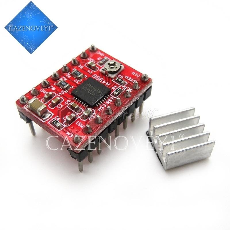 Шаговый драйвер 1 шт./лот A4988 StepStick + радиатор для 3D-принтера Reprap Pololu Red M08 dropship L29K