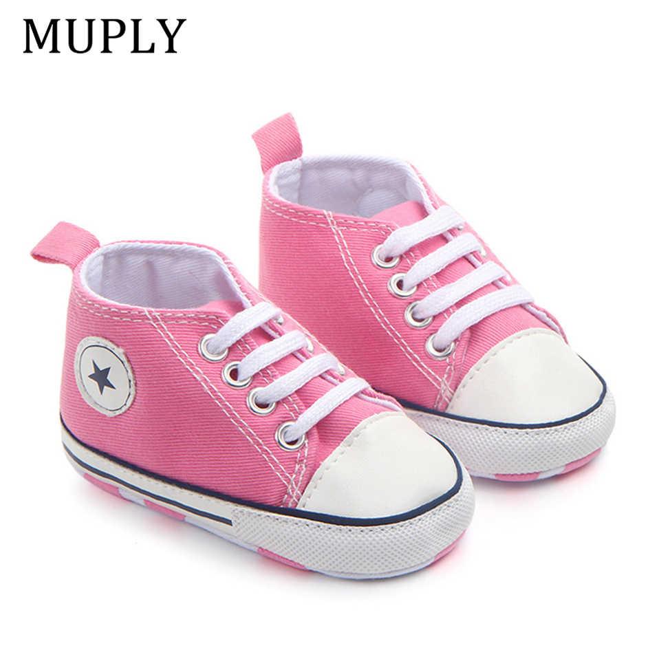 חדש בד קלאסי ספורט סניקרס יילוד תינוק בני בנות ראשון הליכונים נעלי תינוקות פעוטות רך Sole אנטי להחליק תינוק נעליים