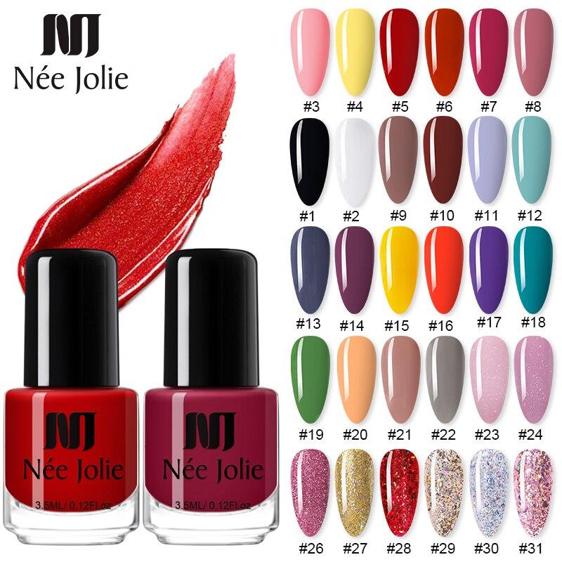 NEE JOLIE 73 Colors Nail Polish Rose Gold Glitter Sequins Nail Art Varnish Color Nail Polish DIY Nail Art Varnish 3.5ml