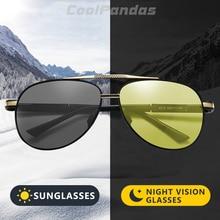 CoolPandas Brand Men Aviation Sunglasses Photochromic HD Day