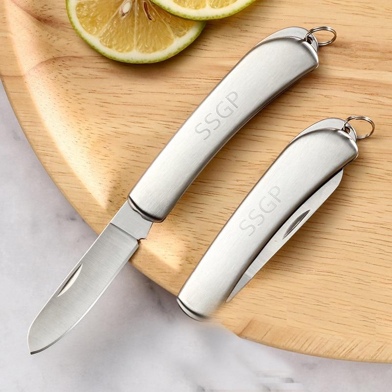 Cuchillo pelador de frutas portátil para el hogar, Cuchillo plegable de acero inoxidable, cuchillo afilado para pelar frutas, cocina, suministros al aire libre