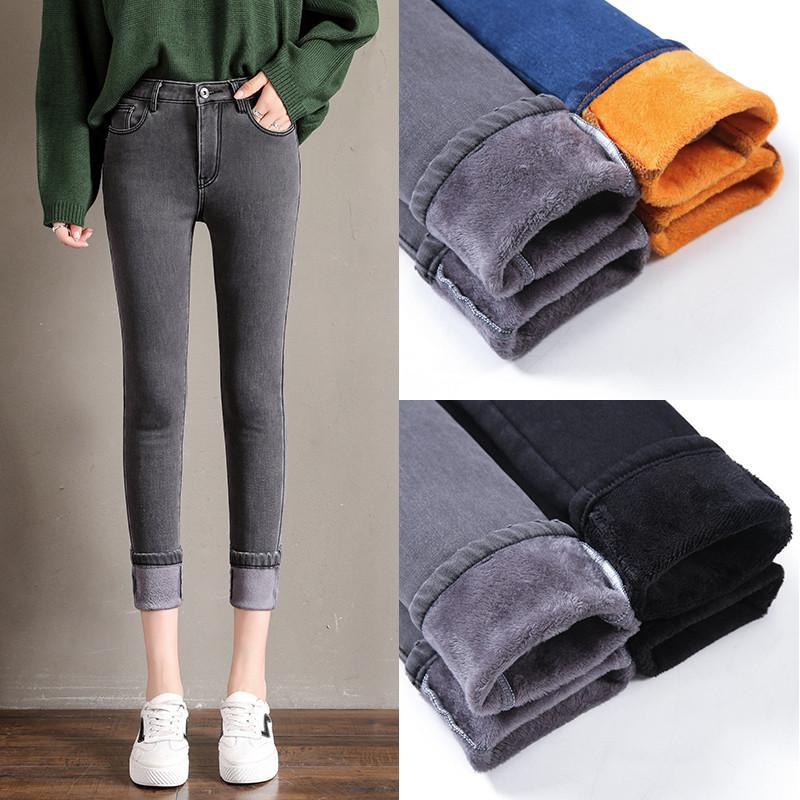 Candy Color Winter Fleece  Denim Pencil Pants Women Warm Thicken Jeans Fashion Skinny Solid Jean Pants Streetpant Trousers P9194