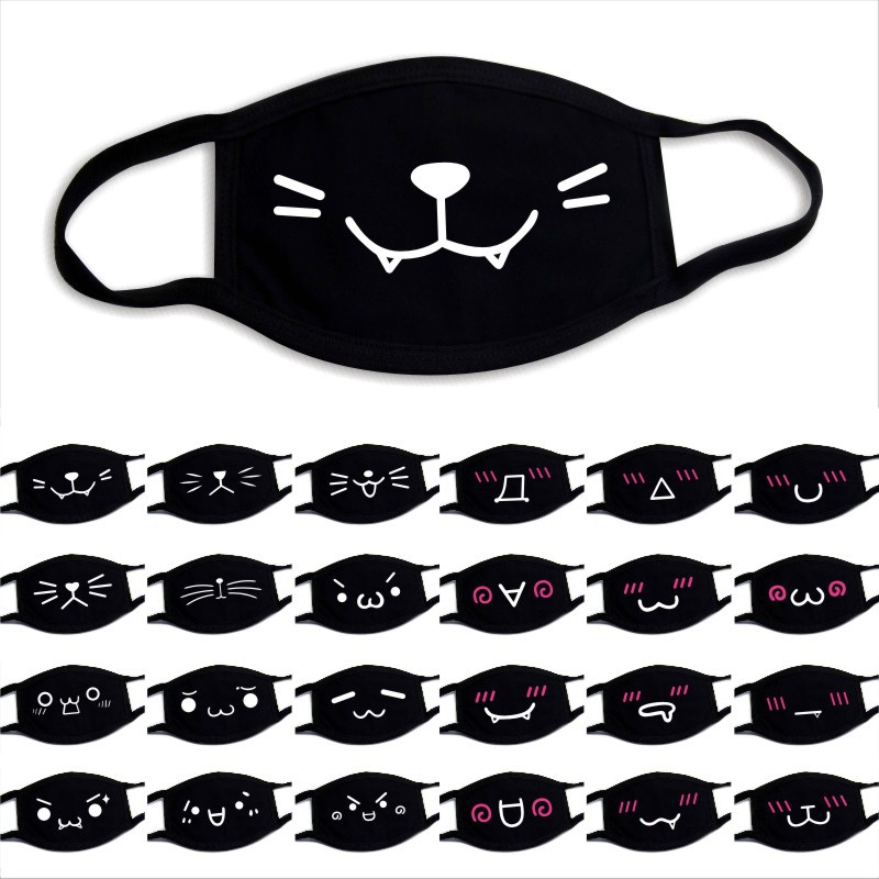 1PCs Unisex KPOP Black Face Mouth Masks Cute Anime Cartoon Expression Bear Kawaii Cotton Winter Warm Mask K-pop Facial Masks