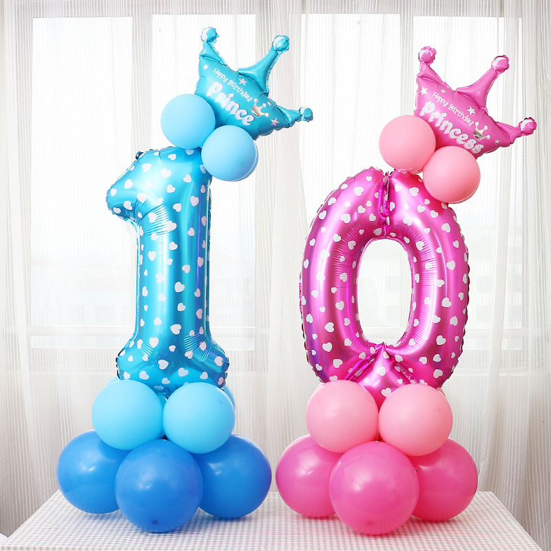 32 Inch Crown Digital Aluminum Film Balloon Blue Pink Print Balloon Baby Birthday Party Wedding Anniversary Decoration