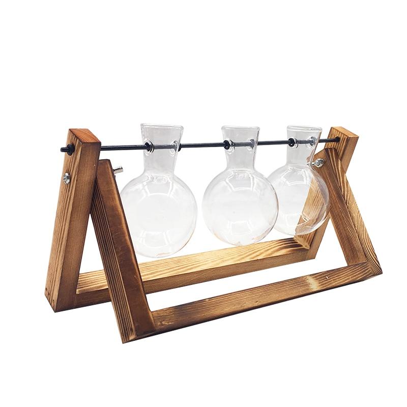 Террариум креативный гидропонный завод прозрачная ваза деревянная рамка ваза декоративная стеклянная настольная растение бонсай Декор ваза для цветов - Цвет: 28.5x16cm