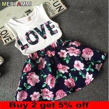 MERI AMMI комплект из 2 предметов, детская одежда для девочек, комплект одежды, футболка без рукавов с надписью «Love»+ юбка с цветочным рисунком для От 2 до 11 лет и девочек J521