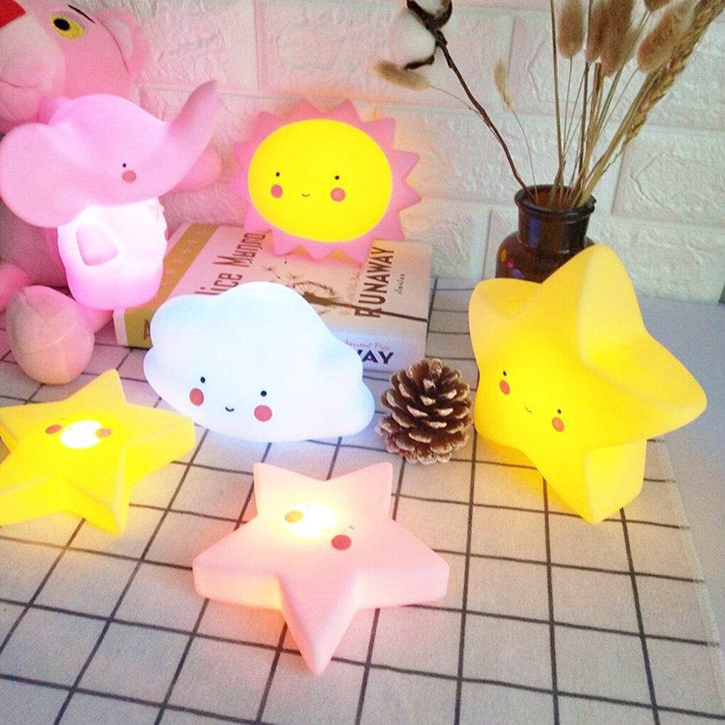 Kids Cartoon LED Night Light Children Bedroom Table Lamp Bedside Moon Star Nightlight Gift