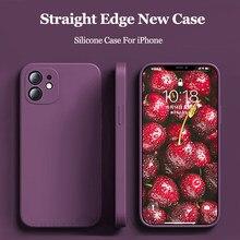 Capa para iphone 12 pro max mini 11 pro max xs max x 7 8 plus se 2020 caso nova cor silicone macio quadrado capa de telefone para iphone