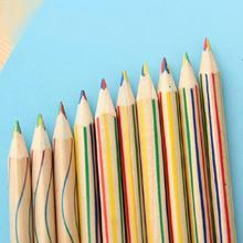New 1/4Pcs Rainbow Pen With Core Cute Pencil 4 In 1 Drawing Rainbow Painting Color Graffiti Wooden For Kid School Pencil Co S7Y7