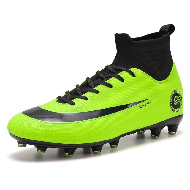 White Golden Men Football Boots High Ankle Soccer Shoe Women Soft Groud Man Trainer Gym Botas De Futbol Socks Cleats Training 5
