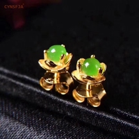 CYNSFJA New Real Certified Natural Hetian Jasper 925 Sterling Silver Gold Plated Amulets Jade Earrings High Quality Best Gifts