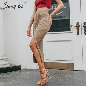 Image 4 - Simplee Sexy side dividir botão das mulheres de malha Elegante saia plissada midi saia do sexo feminino cintura Alta desgaste do partido senhoras saia inferior