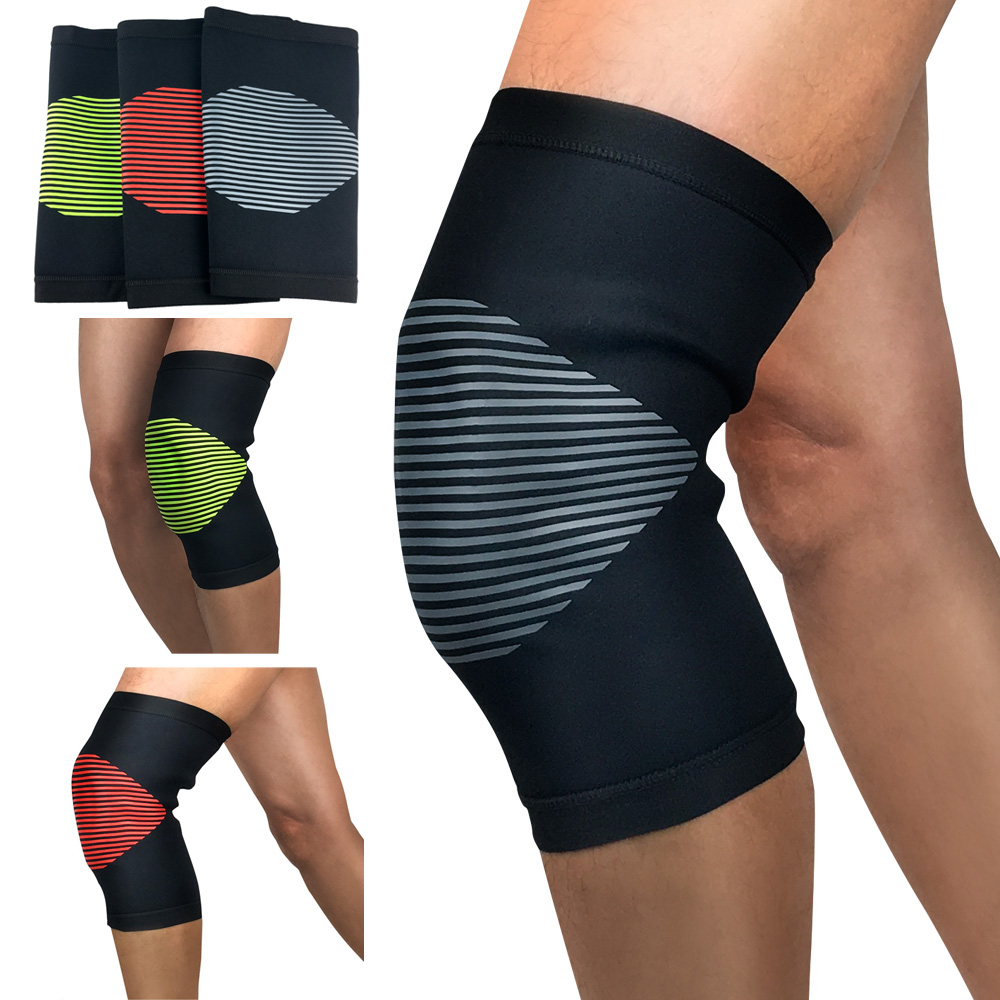 Protection Knee Striped Pattern Knee Sleeve Pads Supports Fitness Running
