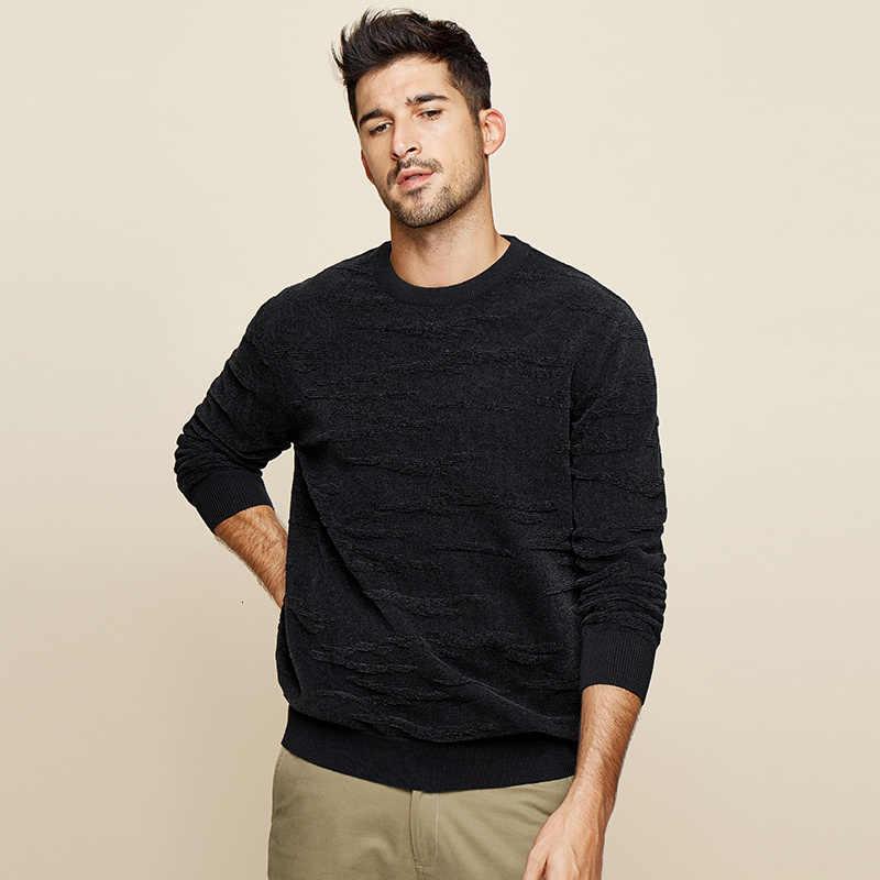 KUEGOU 2019 가을 코튼 플레인 블랙 스웨터 남성 풀오버 캐주얼 점퍼 남성 의류 브랜드 니트 한국 스타일 의류 12672