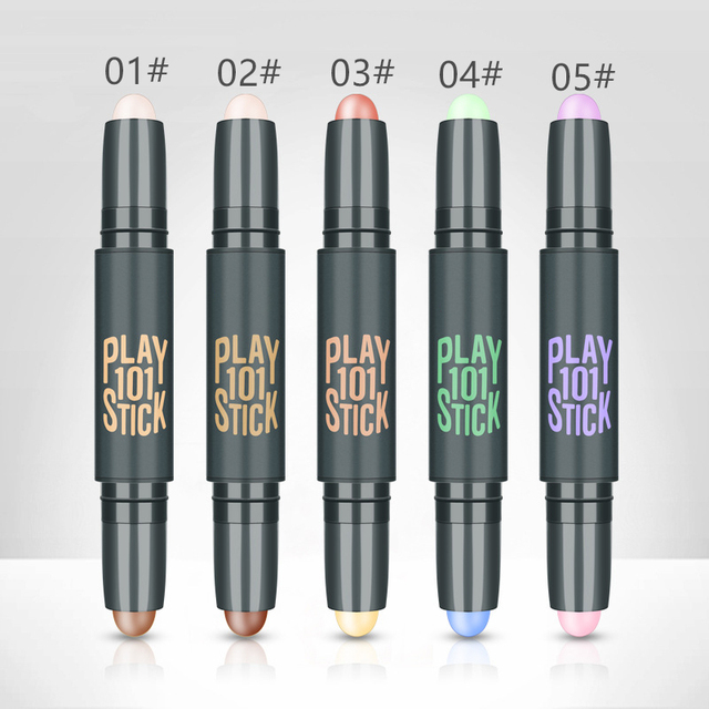 Women Highlighter  Eye Face Concealer Stick Contouring Bronzers Green Pencil Cosmetic 3D Makeup Corrector Contour Stick 2