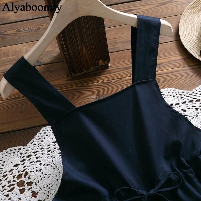 Japanese Mori Girl Spring Summer Women Sundress Navy Blue Suspenders Elegant Dress Cotton Linen Vintage Sleeveless Midi Dresses 3