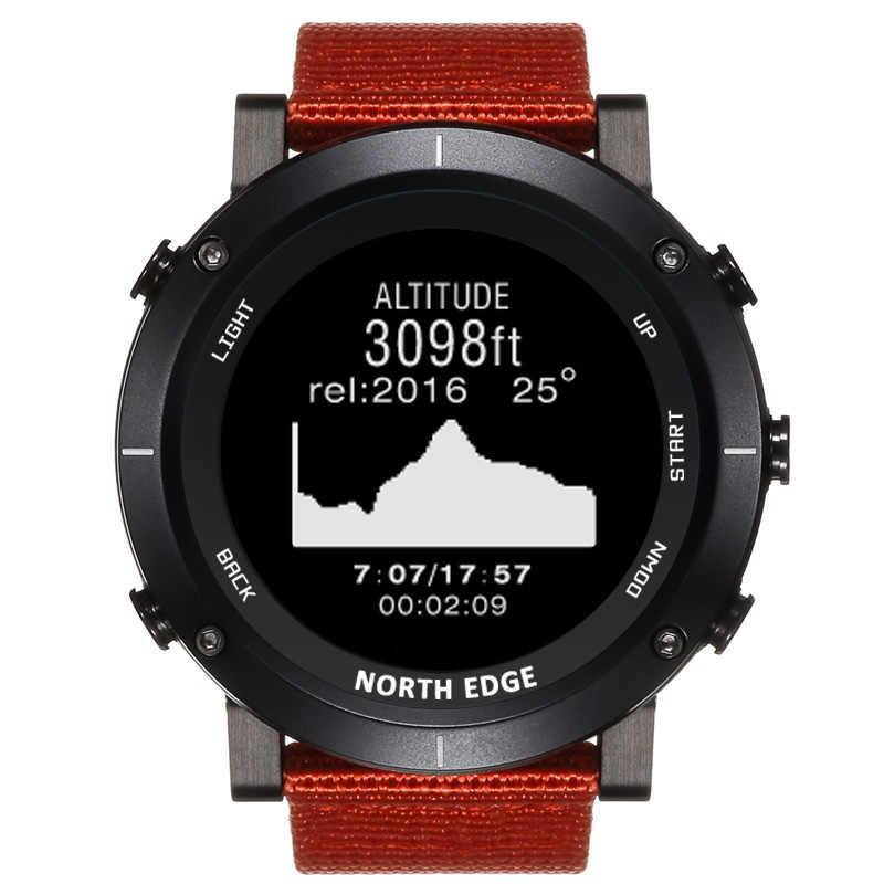 北エッジ男性スポーツ高度計バロメーター温度計コンパス心拍数モニター歩数計デジタルランニングクライミング