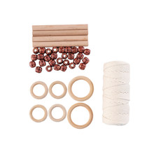 DIY Ring Natural Handmade Wooden Stick Decorative Home Knitting Kit Non Toxic Crafts Plant Hanger Macrame Rope Beads(China)