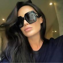 Gafas de sol cuadradas de gran tamaño de diseñador para MARCA DE Italia, anteojos de sol cuadrados de gran tamaño, a la moda, con degradado negro brillante, con UV400
