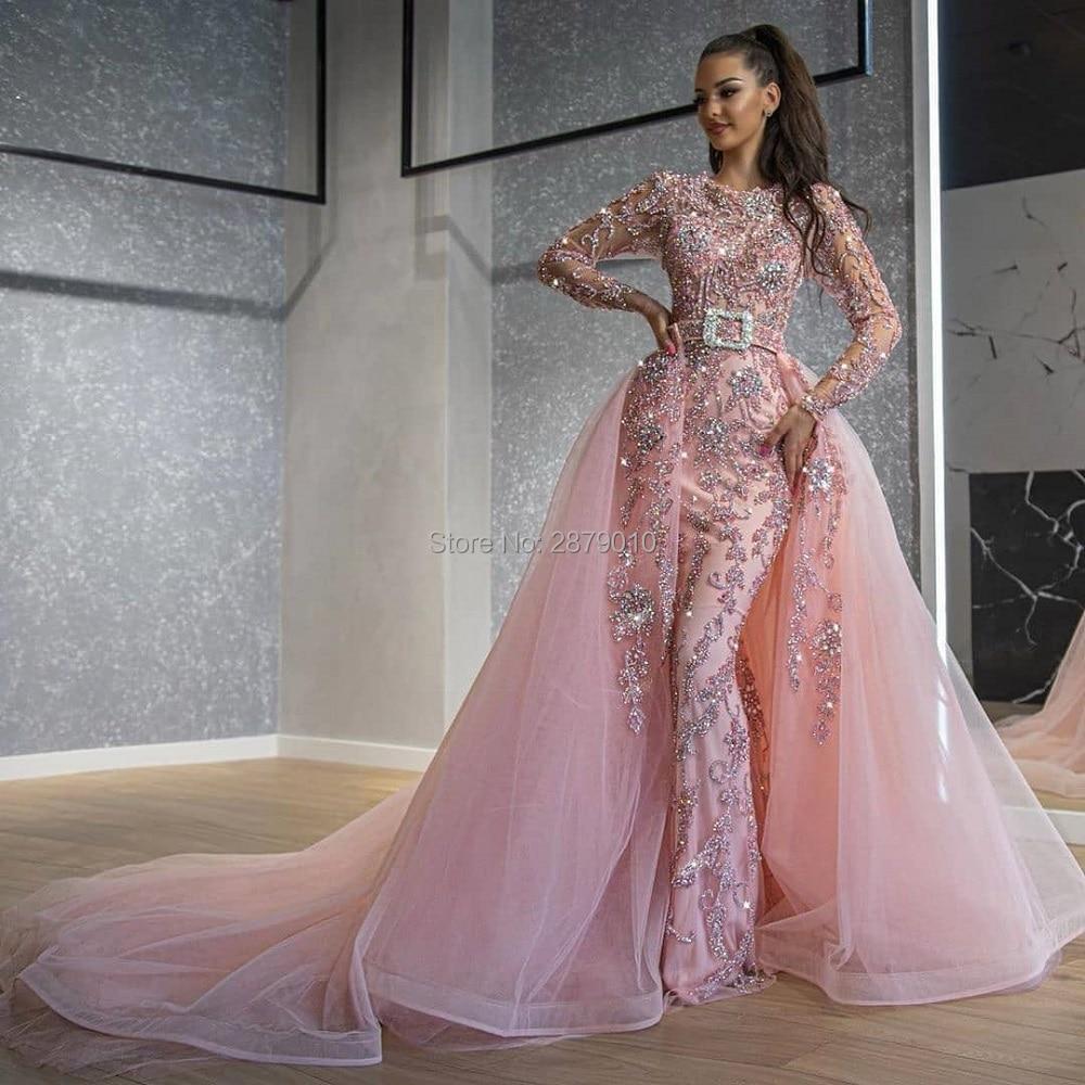 Brilliant Pink Round Neck Mermaid   Evening     Dress   Removable Skirt Floor-Length Beaded Sequins Robe De Soiree Aibye Saudi Arabia