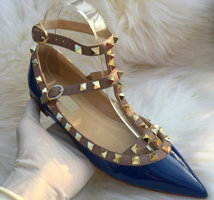 2020 Blue Rivets Pointed-Toe Flat Stiletto Women Sandals Two-Straps Sandals Patent Leather Women's Flat Shoes Wedding Shoes