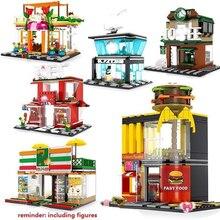 Blocs de jouets Mini ville rue blocs de construction café Hamburger magasin ville briques à monter soi même jouets compatibles noirs pour enfants cadeau