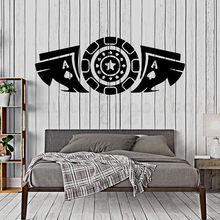 Gra w karty naklejka sypialnia pokera żetony czy kasyna winylu naklejki ścienne salonu pokoju rive-de-gier, dekoracje samoprzylepne H809