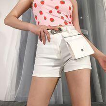Women Summer High Waist White Cargo Shorts With Detachable Large Zipper Pockets Skinny Sexy Hot Harajuku Casual Streetwear navy random floral print back zipper high waist shorts with pockets