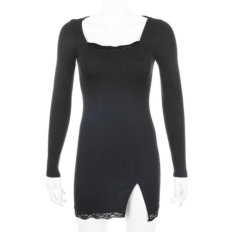 Women Sexy Party Dress Long Sleeve Lace Split Black White - dresses