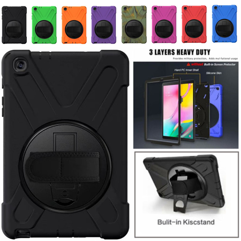 Samsung Galaxy Tab A <font><b>10.1</b></font> 2019 SM-T510 T515 shockproof heavy duty armor tablet case <font><b>360</b></font> degree rotating bracket hand strap cover image