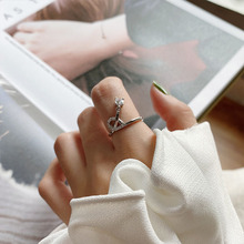 Fashion trend Korean sterling silver 925 women's creative opening adjustable crown zircon ring jewelry