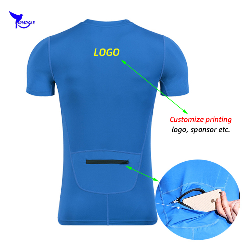 Customize Men Workout T Shirts Quick Dry Short Sleeve Outdoor Training Top Tee Breathable Mesh Running Shirt With Back Pocket