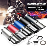 5 Color Stainless Steel Performance Exhaust System Shorty Carbon Fiber For 4 Stroke Scooter GY6 125cc 150cc