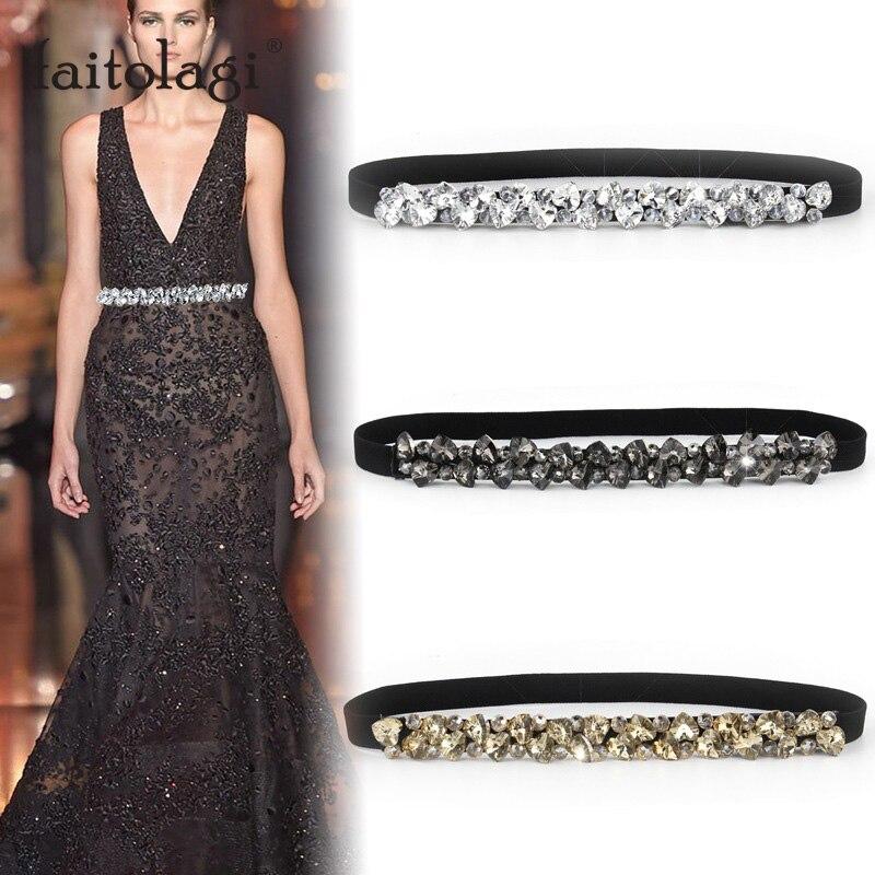 Rhinestone Elastic Belt For Women Dresses Full Crystal Gem Black Female Waist Belt For Coats Down Fashion Luxury Ladies Belt