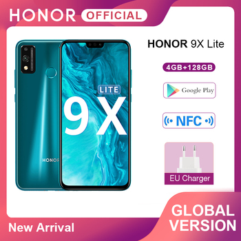 Перейти на Алиэкспресс и купить В наличии глобальная версия мобильного телефона Honor 9X Lite 4G 128G 48MP камера Kirin 710 6,5 ''Android P GPU Turbo 3,0 NFC